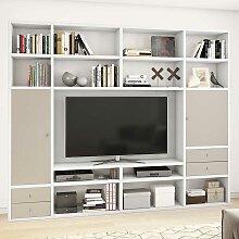 TV Regal in Weiß und Beige Türen und Schubladen