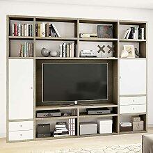 TV Regalwand mit Türen und Schubladen Weiß und