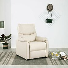 TV-Relaxsessel Creme Stoff VD14220 - Hommoo
