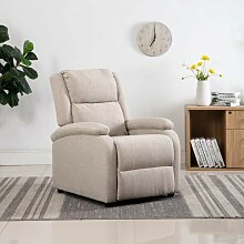 TV-Relaxsessel Cremeweiß Stoff VD14228 - Hommoo