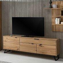 TV Schrank aus Wildeiche Massivholz und Metall 65