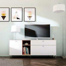 TV Schrank in Weiß und Eiche modern