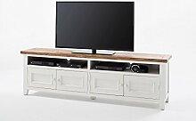 TV-Schrank, TV-Board, Fernseh-schrank, TV-Bank, TV-Sideboard, TV-Unterschrank, TV-Kommode, Phonoschrank, TV-Rack, Kiefer, Recyclingholz, weiß, braun