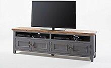 TV-Schrank, TV-Board, Fernseh-schrank, TV-Bank, TV-Sideboard, TV-Unterschrank, TV-Kommode, Phonoschrank, TV-Rack, Kiefer, Recyclingholz, grau, braun