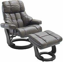 TV Sessel in Schlamm Leder mit Hocker (zweiteilig)
