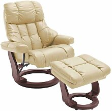TV Sessel mit Relaxfunktion Creme Weiß Leder