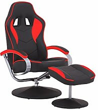 TV-Sessel Racer 01 / Verstellbarer Sessel mit Hocker im Rennfahrer-Design / Lederimitat Schwarz-Rot / Ergonomische Rückenlehne / drehbar / 82 x 69 x 108 cm (T x B x H)