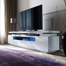 TV Sideboard in Weiß Hochglanz LED Beleuchtung