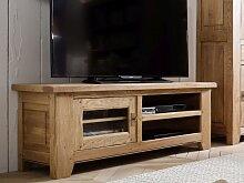 TV-Tisch Eiche massiv Ariege mit 2 Fächern und