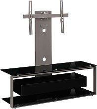 TV Tisch in Schwarz Sicherheitsglas schwenkbarer