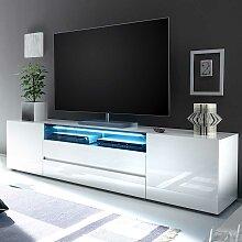 TV Unterschrank in Hochglanz Weiß zwei Schubladen