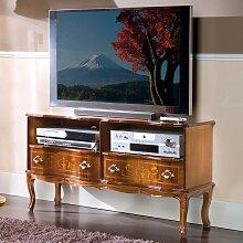 TV Unterschrank mit Nussbaum furniert geschwungen und verziert