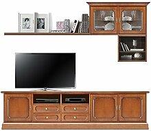 TV Wohnwand klassisch aus Holz, TV Lowboard+Brett+Hängevitrine+Regal, Möbel im Stil für Wand, Schon montiert - nur Hängemöbel zu festen der Wand