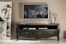 TV-Wohnwand Wohnzimmer Holz 3Schubladen gewölbt