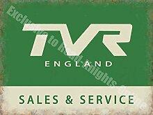 TVR England Verkauf & Dienstzeit, Vintage Garage Sportwagen Metall/Stahl Wandschild - 30 x 20 cm