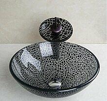 Tw Europäische handbemalte gehärtetes Glaswaschbecken mit Mixer Set schwarz / weiß modernes Bad tempered Glas Waschbecken-Set zu knacken