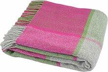 Tweedmill Pink und Grün Block Check Wolldecke