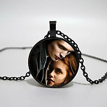 Twilight Portrait Muster Glas Anhänger Halskette