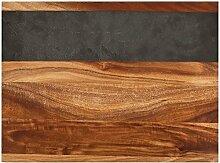 Twine 3412 Holz-Servierbrett mit Schiefer-Rand zum