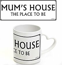 Twisted Envy Mum 's Place Street Sign Herz Griff Becher – Keramik Tasse