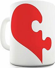 Twisted Envy seine Liebe Herz Puzzle Keramik Tee Tasse