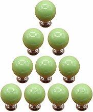 TXXCI 10Pcs Möbelknopf Schrankknöpfe Möbelknöpfe Set Möbelgriff Türknopf Cabinet Pulls Schrank Griffe Tür-Fach-Knöpfe für Dresser Kitchen - Grün