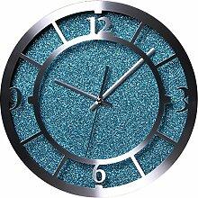 TXXCI Aluminiumlegierung Runden Modern Wohnzimmer Lautlos Silent Wanduhr - Blau