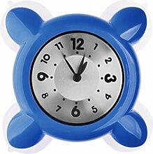 TXXCI Wasserdichte Küche Badezimmer Mini Uhr Saugglas Uhr - Blau