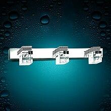 TYDXSD Einfache Weise Spiegel Leuchten led Bad Badezimmer Spiegel leichte Feuchtigkeit Nebel-Kristallwand Licht Edelstahl Spiegel Schrank Licht , 3 head