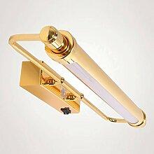 TYDXSD Europäischen-LED Spiegel Lichter moderne minimalistische Bad Badezimmer Spiegel Schrank Beleuchtung Wandlampe mit Schalter Wandbild leuchtet 650mm , Gold