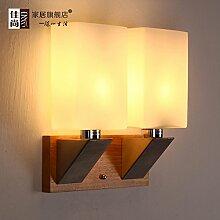 TYDXSD Zwei Fuhren Holz Wand Lampe Einfach Europäischen Kreativen Gang Wand Lampe Wand Lampe Wand Lampe Nachttisch Leselampe Lampe Schlafzimmer Solide Holz Wohnzimmer Wand 280 * 280 * 110 Mm