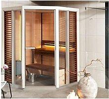 Tylö Impression Sauna mit Eckeinstieg mit Saunaofen, LED Farblicht und Montage mit LED Farblicht ohne Montage weiss lackiert Dampfsaunaofen Combi Compact 4,5 149,5 x 149,5 cm