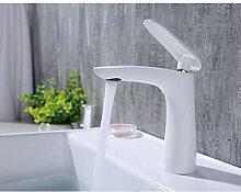 TYOLOMZ Messing weiß Bad Waschbecken Wasserhahn