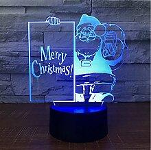 TYWWAN Weihnachtsmann Acryl 3D Nachtlicht Remote