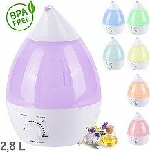 TZS First Austria - 2,8L Aroma-Licht-Diffuser Ultraschall Luftbefeuchter mit Farbwechsel und Farbwahl | Humidifier Raumbefeuchter | BPA frei | Abschaltautomatik | geeignet für Baby und Kinder Raum