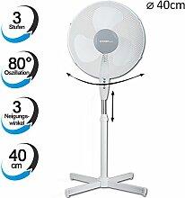 TZS First Austria - 50 Watt 40cm Ventilator extra leise max. 57dB | 3 Geschwindigkeitsstufen | verstellbarer Neigungswinkel in 3 Stufen | Standlüfter | Standfuß höhenverstellbar bis 118cm weiß