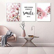 TZZXYXGS 3 Stück Pink Flower Wandplakat Nordic