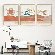 TZZXYXGS Abstrakte Landschaft Sonne Und Mond Szene