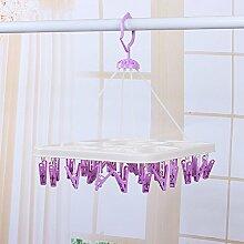 U-emember 130 Farbe All-in-One-Wind Kleidung Klammer der Kleiderbügel Faltbarer Bügel-bh Unterwäsche Socken Rack Multi-Clip Aufhänger, einer Der Platz 28 Clip Lila Lila