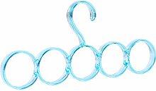 U-emember All-Clear Schal aus Kunststoff Kleiderbügel Krawatte Seide Schal Hanger rutschfeste Fliesen, Magie, und einer der zehn Ring Schal Halter Blau