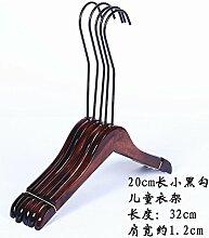 U-emember Überprüfen Holz- Erwachsene Kinder, Rutschfeste Bügel Boutiquen antikes Holz Kleiderbügel Hosenbügler Kinder Kleidung Rack Großhandel 10, 20 cm langen schwarzen Haken für Kinder Wäscheständer