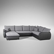 U Form Couch in Grau Schwarz modern