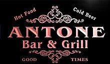 u01061-r ANTONE Family Name Bar & Grill Cold Beer Neon Light Sign Barlicht Neonlicht Lichtwerbung