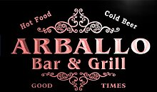 u01170-r ARBALLO Family Name Bar & Grill Cold Beer Neon Light Sign Barlicht Neonlicht Lichtwerbung