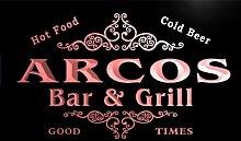 u01206-r ARCOS Family Name Bar & Grill Cold Beer Neon Light Sign Barlicht Neonlicht Lichtwerbung