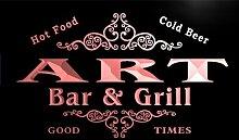 u01405-r ART Family Name Bar & Grill Cold Beer Neon Light Sign Barlicht Neonlicht Lichtwerbung