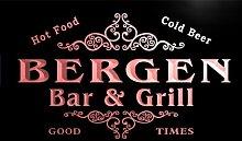 u03322-r BERGEN Family Name Bar & Grill Cold Beer Neon Light Sign Barlicht Neonlicht Lichtwerbung