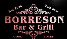 u04729-r BORRESON Family Name Bar & Grill Cold Beer Neon Light Sign Barlicht Neonlicht Lichtwerbung