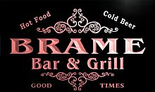 u05091-r BRAME Family Name Bar & Grill Cold Beer Neon Light Sign Barlicht Neonlicht Lichtwerbung