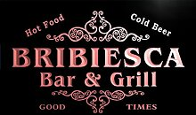 u05381-r BRIBIESCA Family Name Bar & Grill Cold Beer Neon Light Sign Barlicht Neonlicht Lichtwerbung